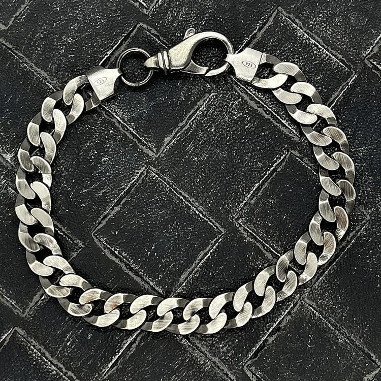 Pansararmband i oxiderat 925 silver - 8 mm