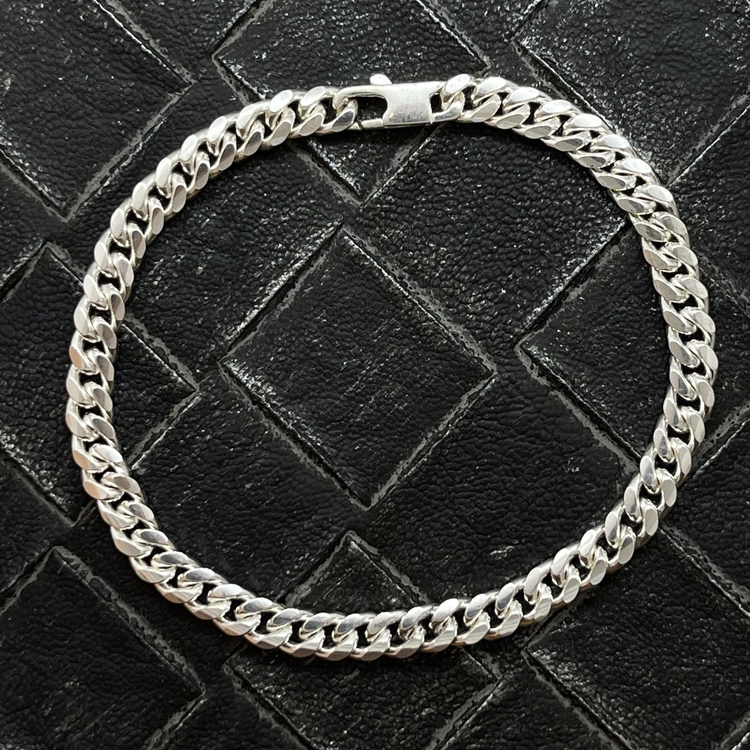 Pansararmband - Ovalslipad 925 silver - 5 mm