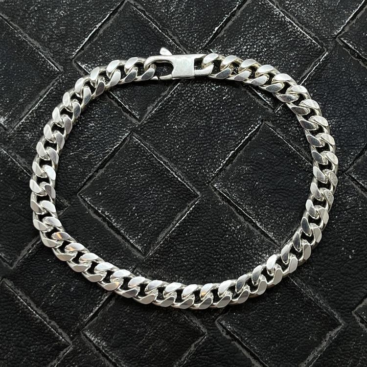Pansararmband - Ovalslipad 925 silver - 5,8 mm