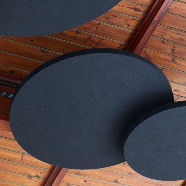 Ljudabsorbent till hem & kontor - Sound Off Cirkel till tak. Mycket effektiv ljudabsorbent för upphängning i tak bestående av återvunnet material. Tjockleken är hela 50 mm.