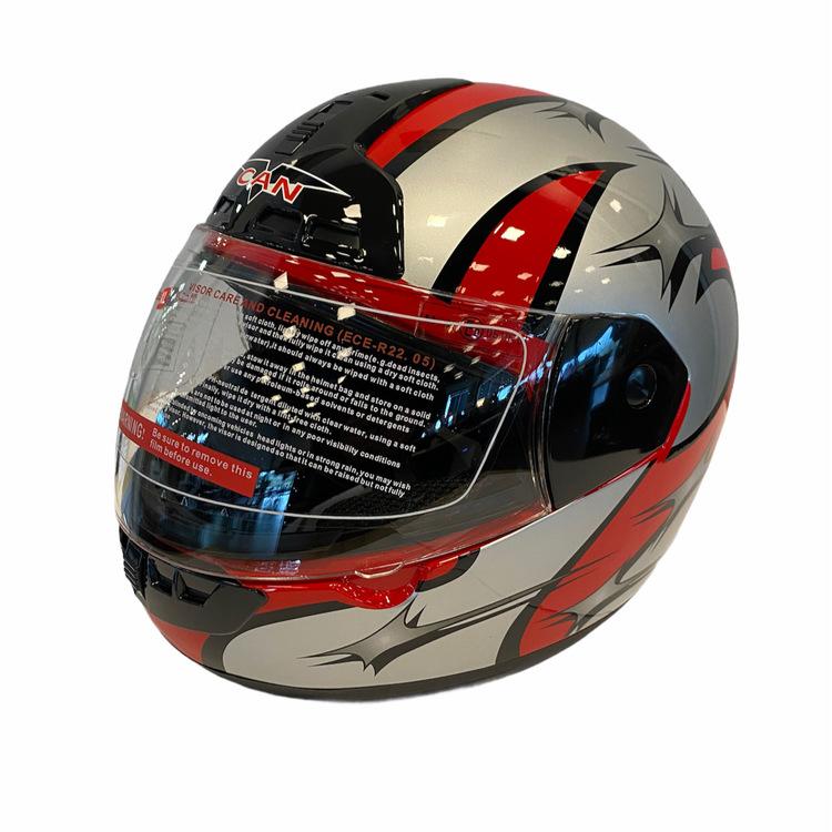 Motorcykelhjälm MAX-603 Silver/röd