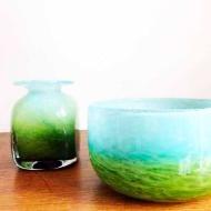 Blomvas och skål i glas, Ekenäs Glasbruk