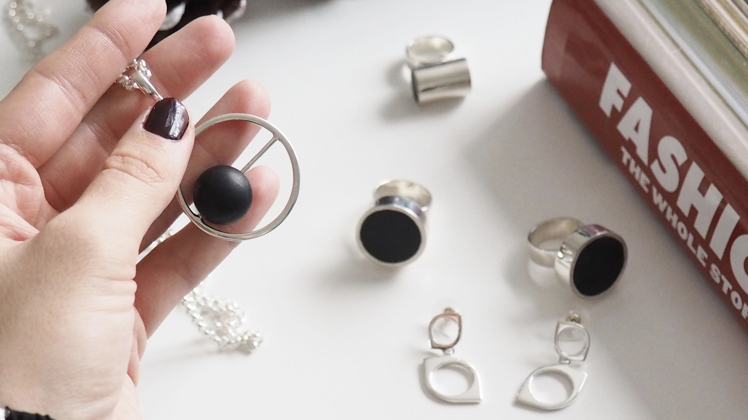 silversmycken med onyx, silver jewellery with onyx