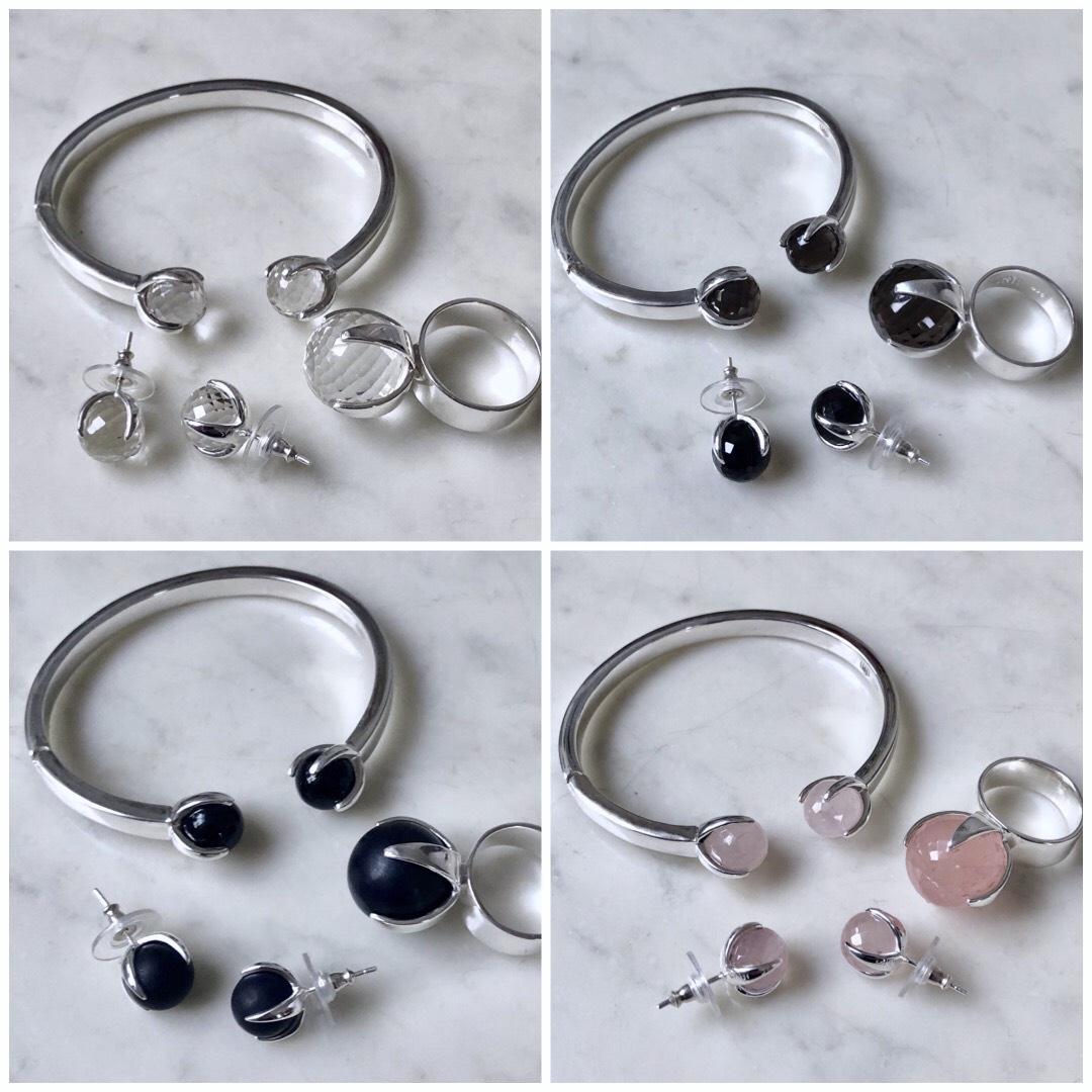 CLAW smyckesset, välj mellan kristallkvarts, rökkvarts, onyx eller rosenkvarts. CLAW jewellery set, choose crystal quartz, smokey quartz, onyx or rose quartz.