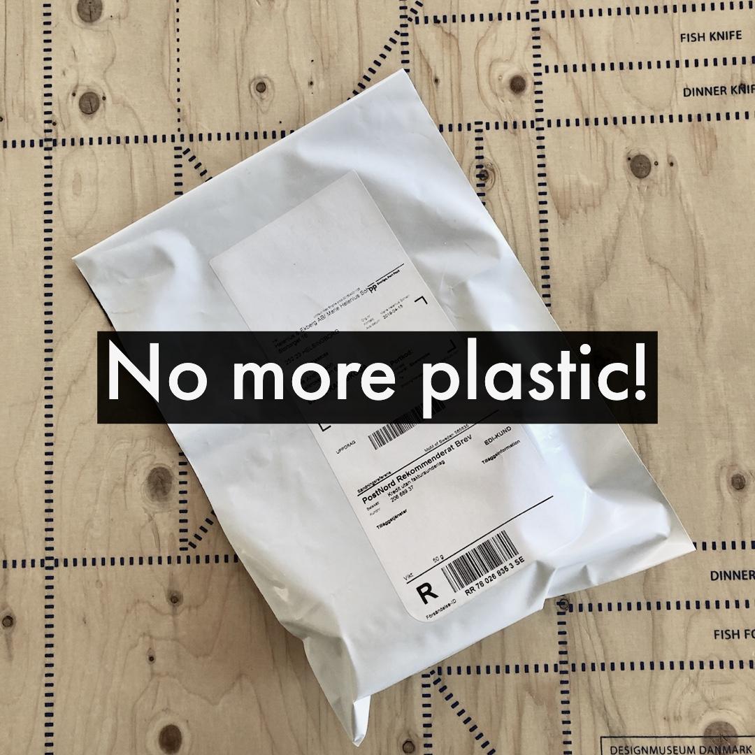 Inga mer e-handelspåsar i plast. No more ecommerce bag in plastic.