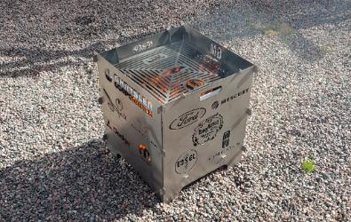 Plasmaskuren grill i 3mm stålplåt.