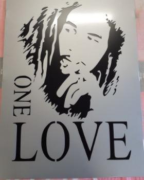Skuren tavla med Bob Marley.