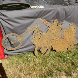 Easy Rider, filmomslagsmotivet i skuren plåt.