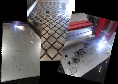 Flera bilder med olika projekt som blir plasmaskurna.