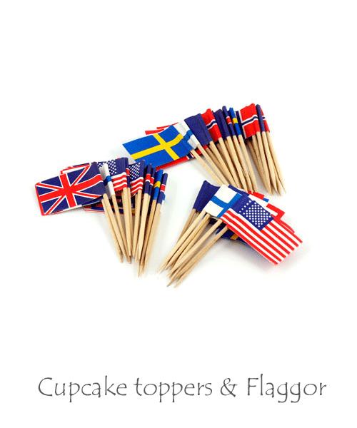 Cupcake toppers och flaggor på tandpetare