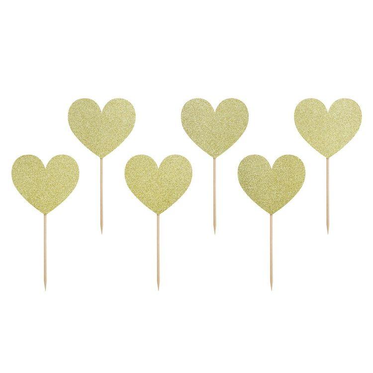 Cupcake Toppers Hjärtan Guld