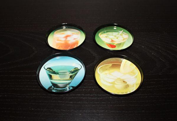 4 st coasters / glasunderlägg med drinkar och recept