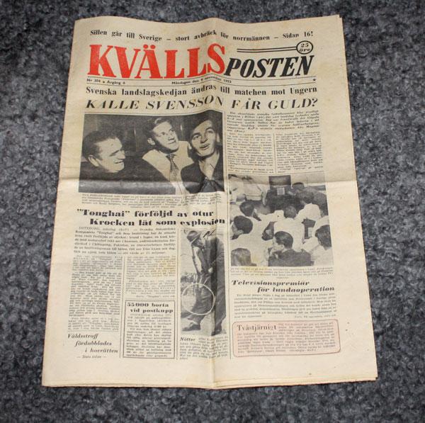 Kvällsposten från 1953, 9 november