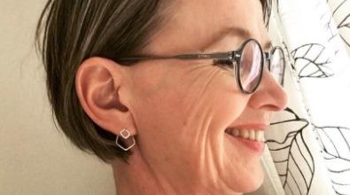 ear jacket fyrkant återvunnet silver örhängen