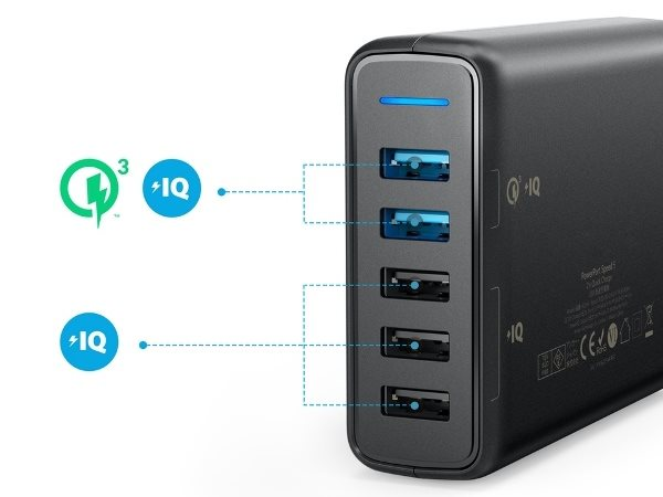 Anker PowerPort Speed 5 - Mobilladdare med 2 Quick Charge uttag och 3 PowerIQ uttag