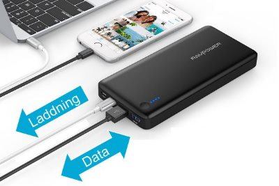 RAVPower 20100mAh powerbank med USB-C och Power Delivery på 30W ger snabb laddning av din Macbook