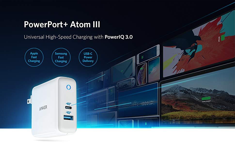 Anker PowerPort Atom III 60W snabbladdare (2 uttag) Mobilladdare och powerbanker för alla mobiler