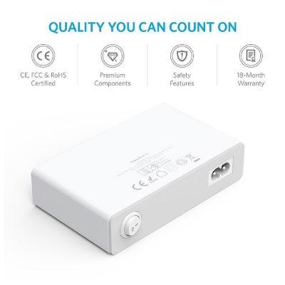 Anker PowerPort 10 mobilladdare, baksida. Säker laddare med inbyggda skydd