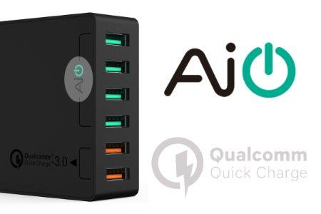 Aukey mobilladdare med 6 uttag och Quick Charge 3.0 och AiPower