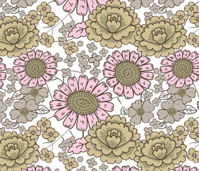 Blomster, Sandbeige #437, ökotex