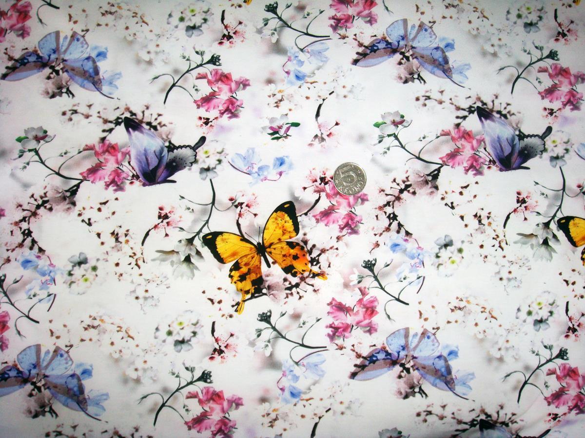 Fjärilar, Vit #367, eko GOTS
