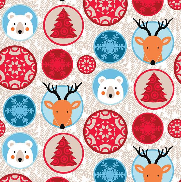 Julstjärnor/Djur, Beige #478, ökotex