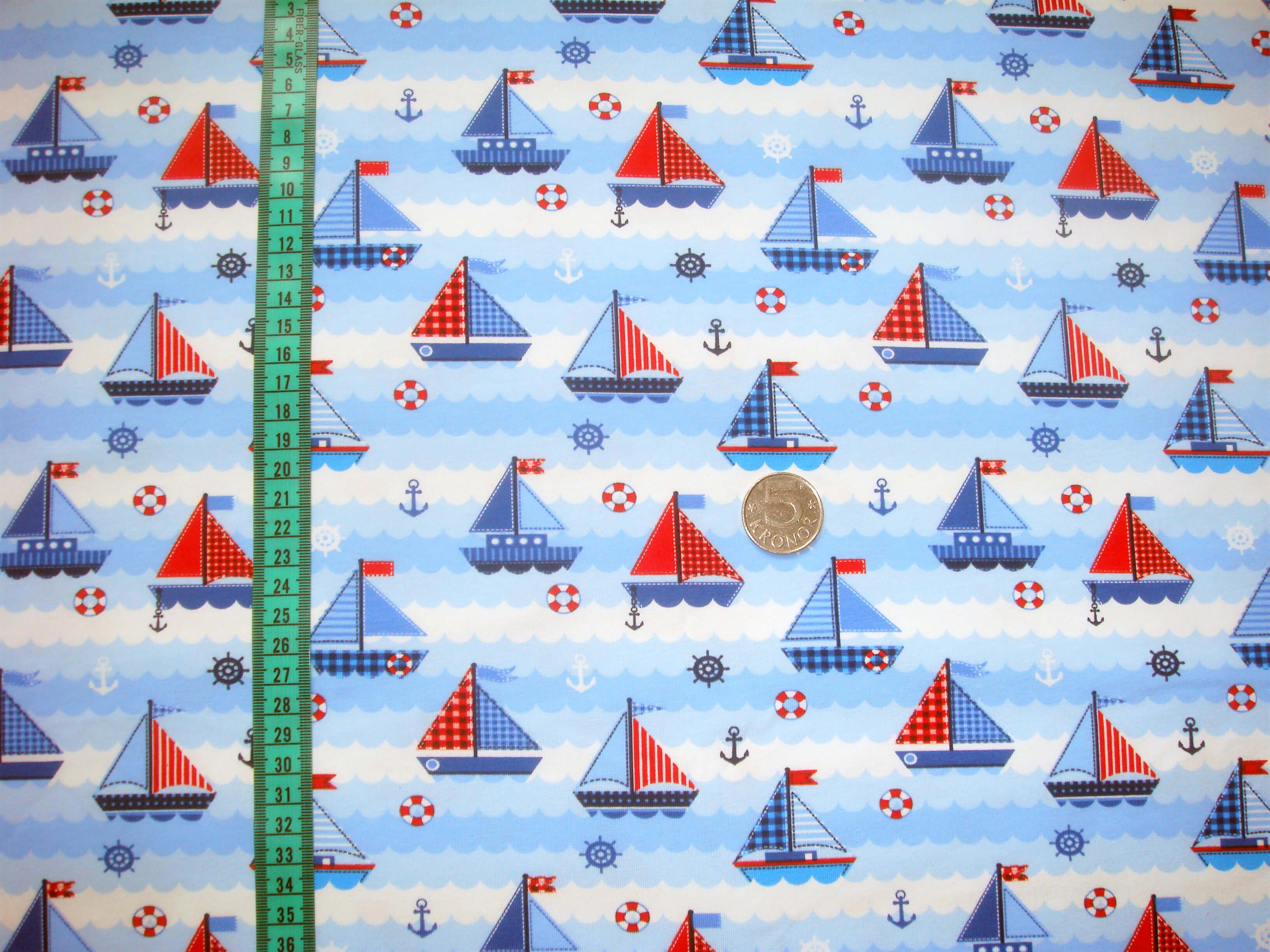 Segelbåtar, Blå #457, ökotex