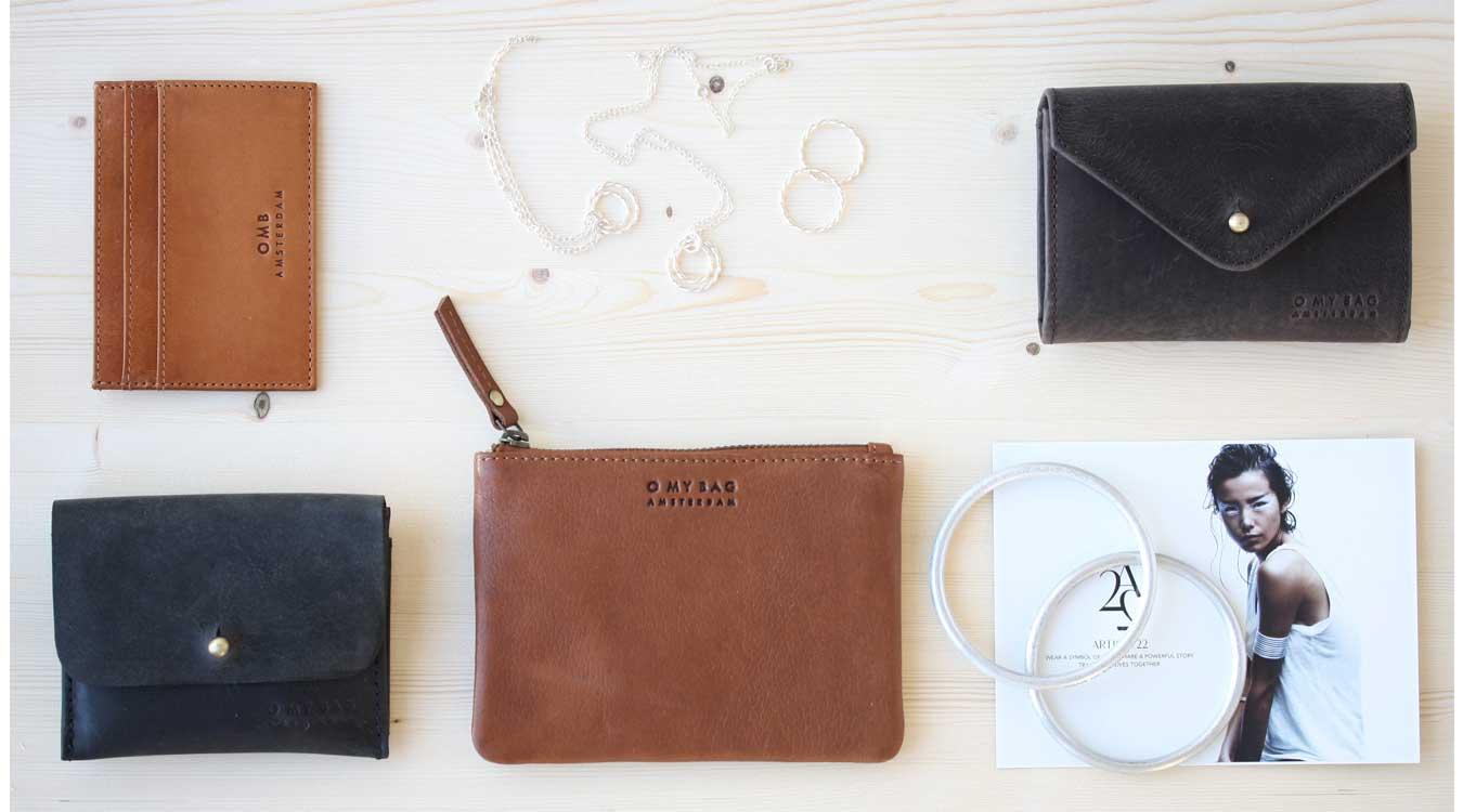 Väskor, plånböker, smycken av miljövänliga material.