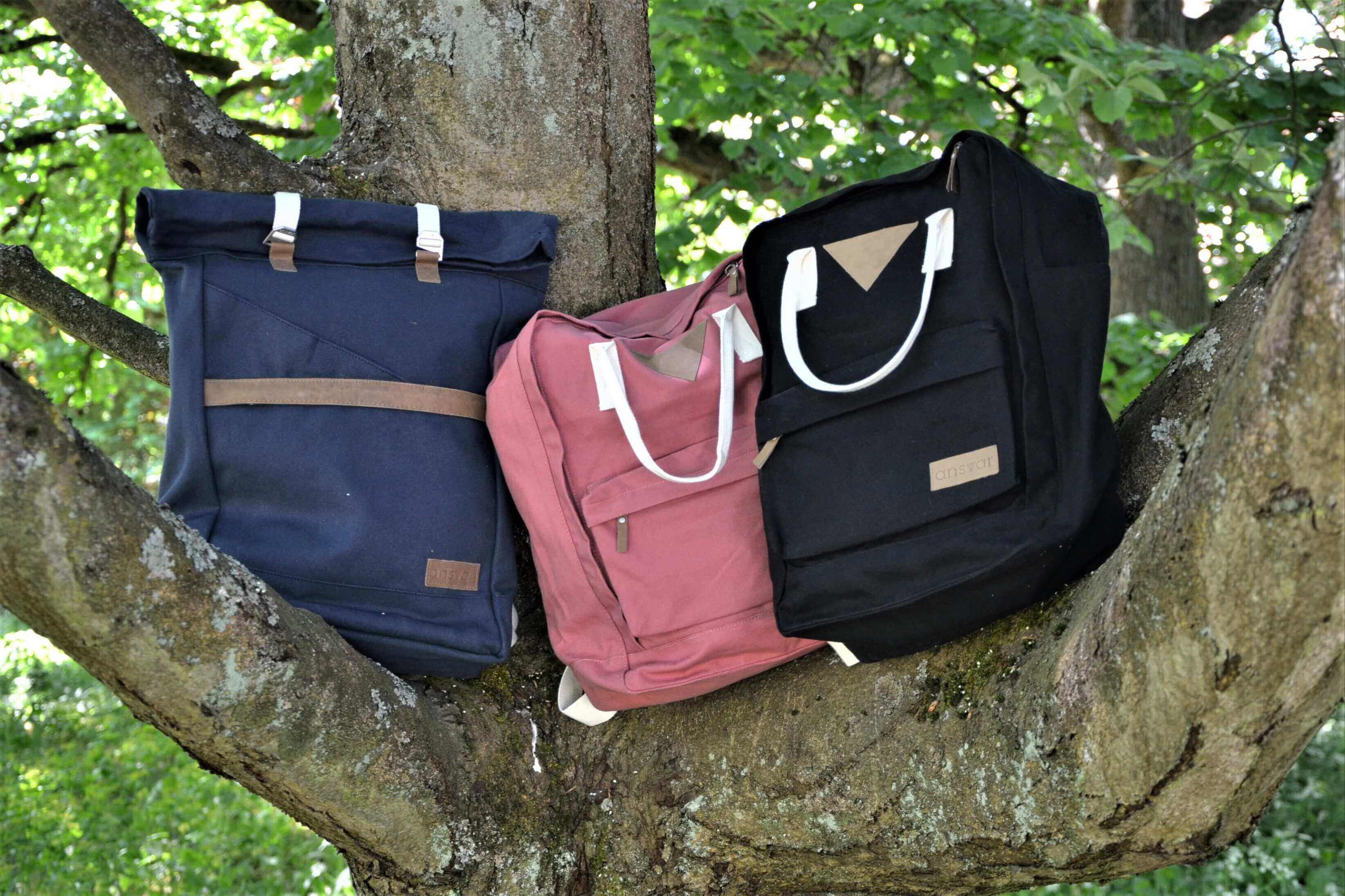 Ryggsäck Ansvar i tre modeller och tre färger. Ekologiskt och etiskt fair tillverkade i Indien för Melawear, Tyskland.