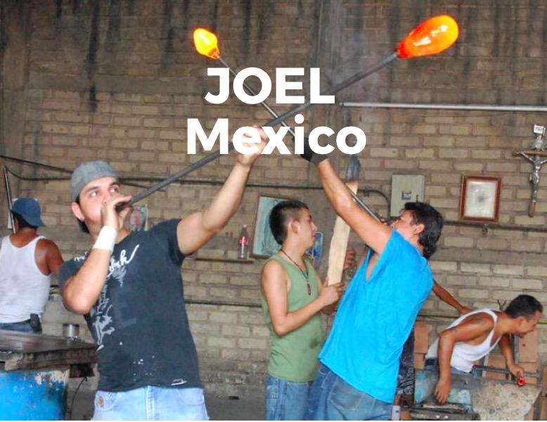 Munblåst glas, hantverkare på Joel Mexico, Fair Trade