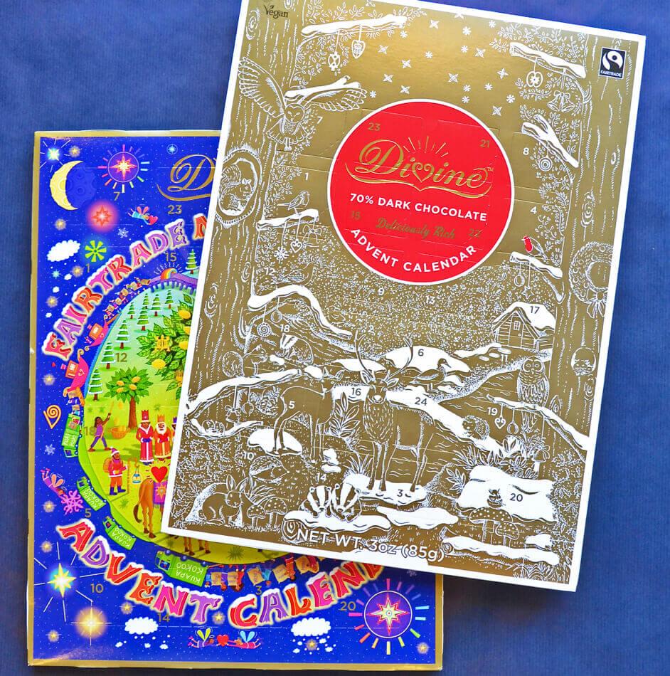 Advetnskalender fyllda med god Fairtrade-choklad från Divine.
