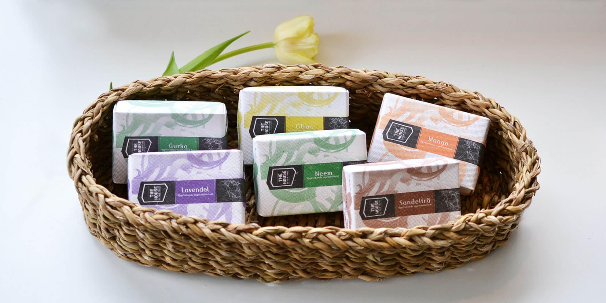 sandelträtvål, lavendel, Neemtvål, mangotvål -från Palam. Fair Trade