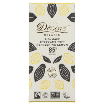 Divine Organic refreshing Lemon är en ekologisk mörk choklad, 85% kakao med uppfriskande citronsmak. Fairtrade.