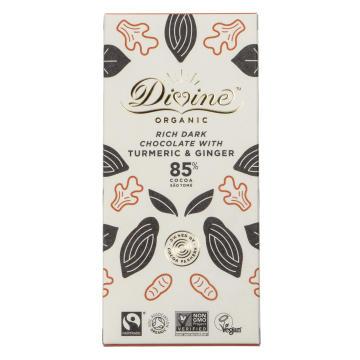 Divine Organic Rich Dark Chocolate with Turmeric & Ginger, ekologisk mörk choklad 85% med gurkmeja & ingefära. Fairtrade.