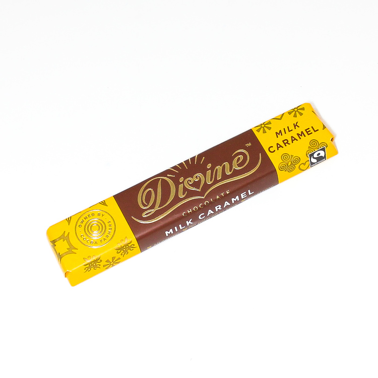 Divine Milk Caramel, en lagom stor chokladbar med mjölkchoklad och krämig karamellfyllning. Fairtrade.