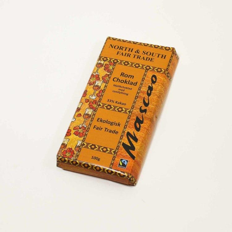Mascao choklad med romsmak, utan emulgeringsmedel. Fair Trade och ekologisk.