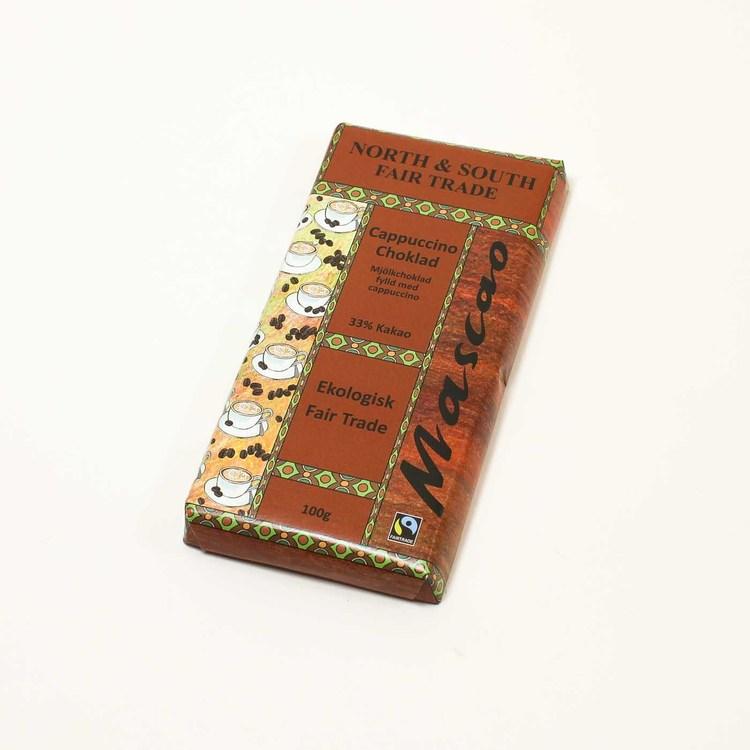 Mascao mjölkchoklad, krämig cappucchinofyllning. Utan emulgeringsmedel. Ekologisk, Fair Trade.