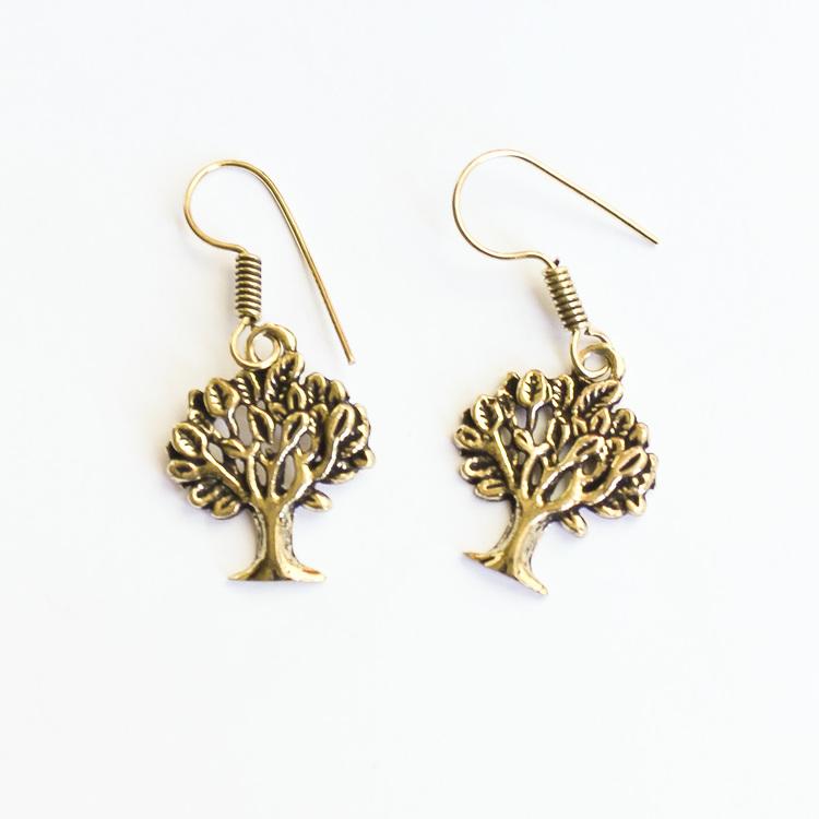 Örhänge 'Livets träd', guldmässing
