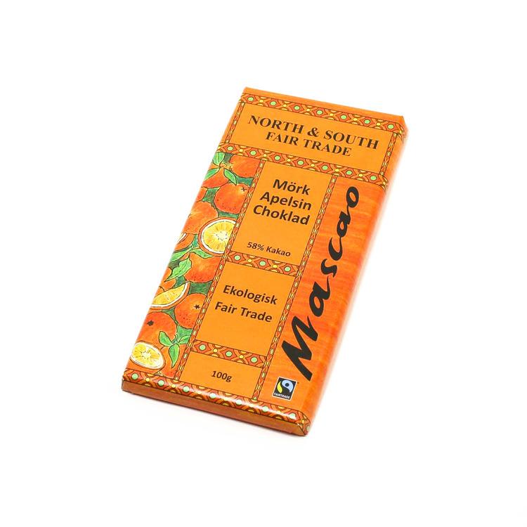 Mörk choklad med apelsinsmak, minst 58 % kakao. Ekologisk, utan emulgeringsmedel, vegansk.