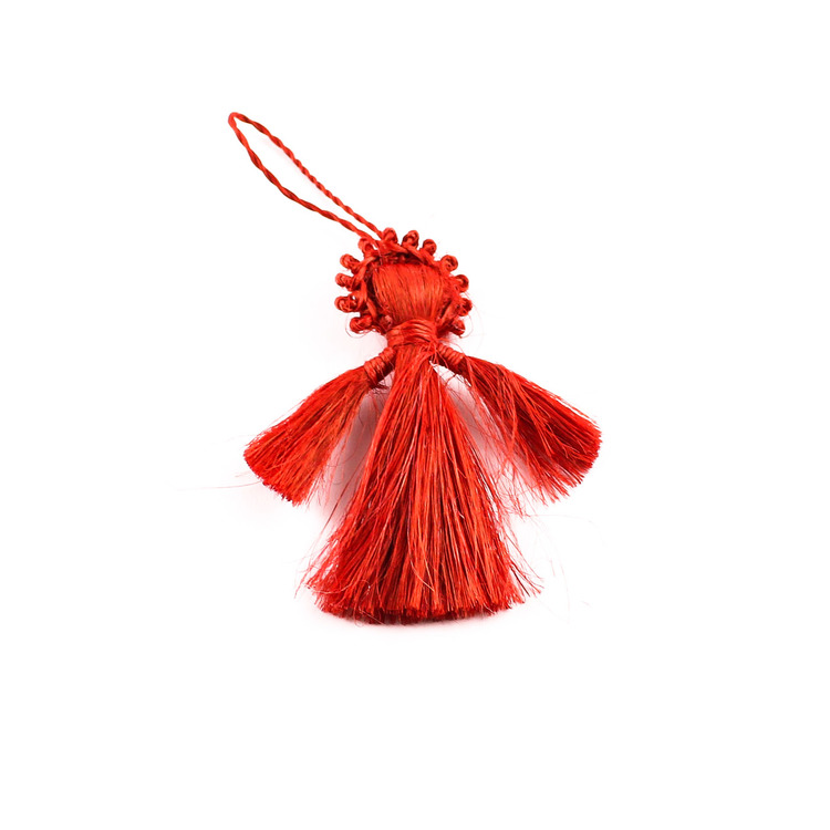 Liten handgjord julängeln i jute, röd. till granen eller på julpresenten.
