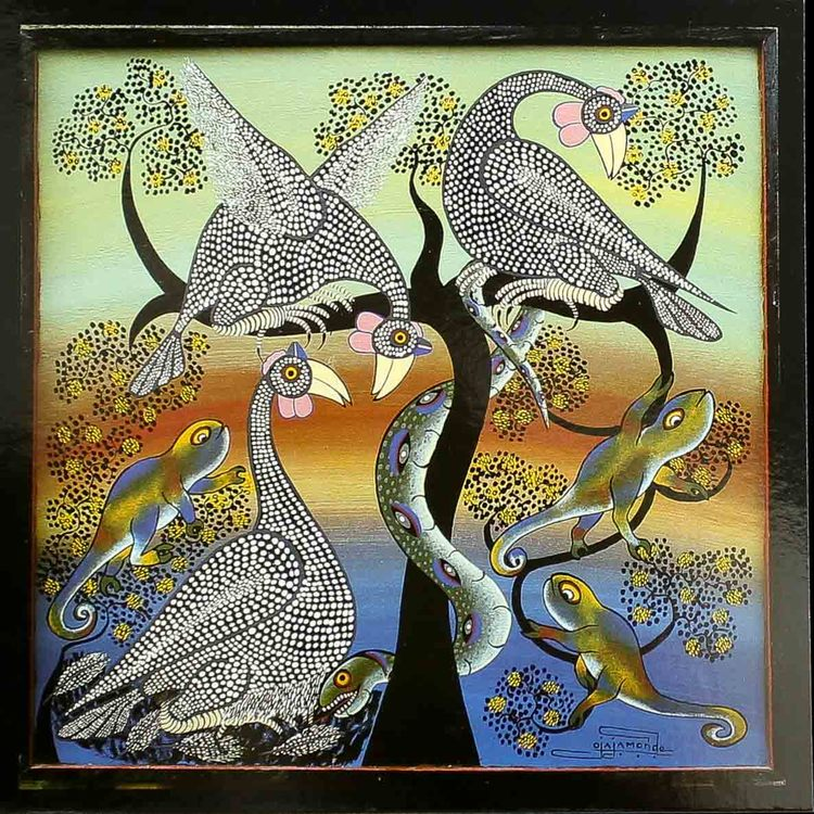 Tingatinga vykort från Tanzania, motiv med orm. Naivistiska målningar, Tinga Tinga Arts Cooperative Society, Dar es Salaam.