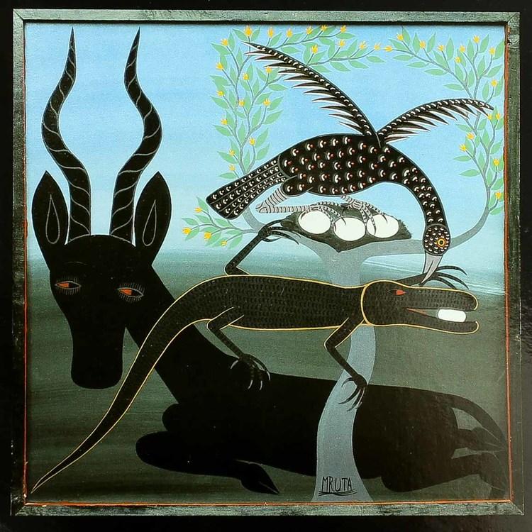 Tingatinga vykort från Tanzania, motiv med antilop. Naivistiska målningar, Tinga Tinga Arts Cooperative Society, Dar es Salaam.