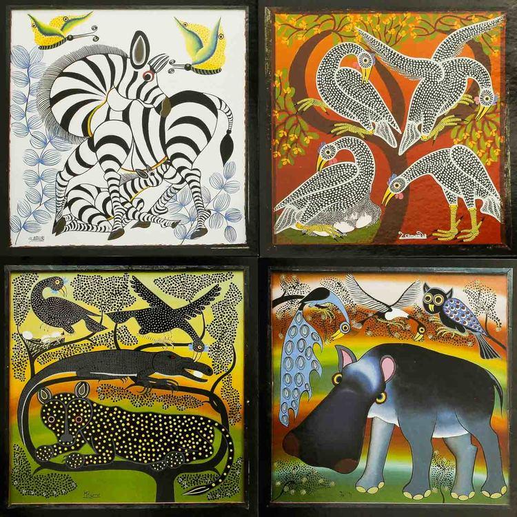 Tingatinga vykort från Tanzania, 4 motiv med sebra, flodhäst, leopard, pärlhöns. Naivistiska målningar, Tinga Tinga Arts Cooperative Society, Dar es Salaam