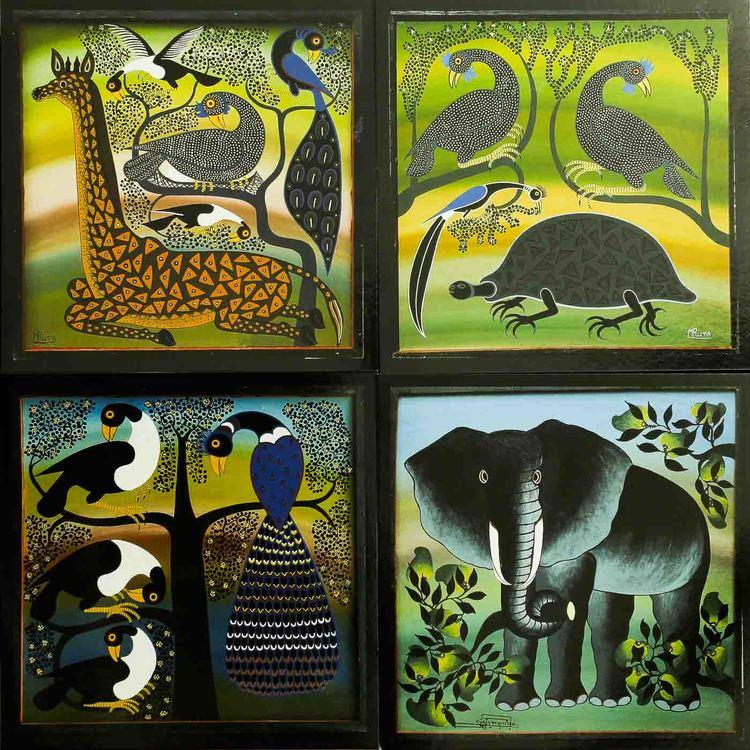 Tinga-tinga vykort från Tanzania, 4 stycken, elefant, peacock, giraff, sköldpadda, fåglar. Mruta, Amonde