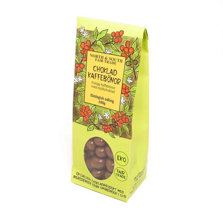 Frasiga, smakrika ekologiska rostade kaffebönor med mjölkchoklad. Rättvist handlade kaffebönor, kakao & rörsocker och ekologisk mjölk.