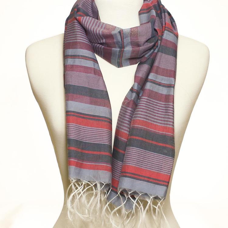 Sjal, scarf, siden & bomull, randig