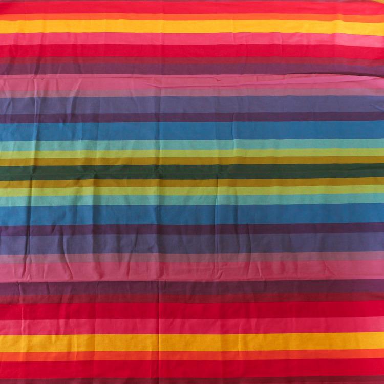 Stabil hängmatta i handvävd bomull från El Salvador. Till en person, max 120 kg. Fair Trade. Regnbågsmönster.