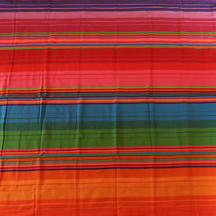 Stabil hängmatta i handvävd bomull från El Salvador. till en person, max 120 kg. Fair Trade. Flera färger, röd är dominerande.
