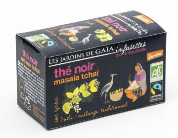 Masala chai svart, ekologiskt handplockat svart te, kryddat med ingefära, kardemumma, kanel, kryddnejlika, muskot och svartpeppar. Påste från  av Les Jardins de Gaïa.