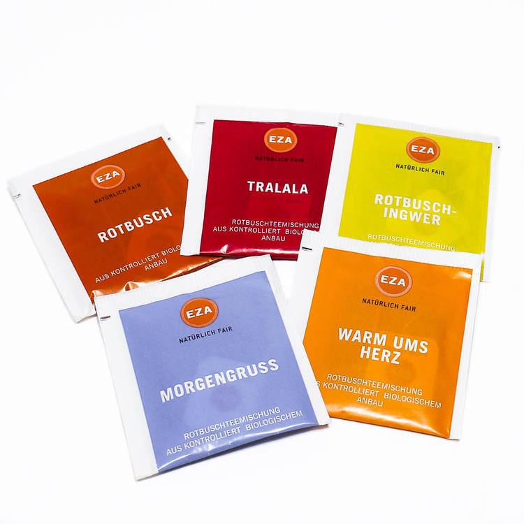 Smakprov! Rooibos i påse i fyra olika blandningar med örter & kryddor. Perfekt för rooibosälskare som gillar omväxling. Ekologiskt & Fair Trade.